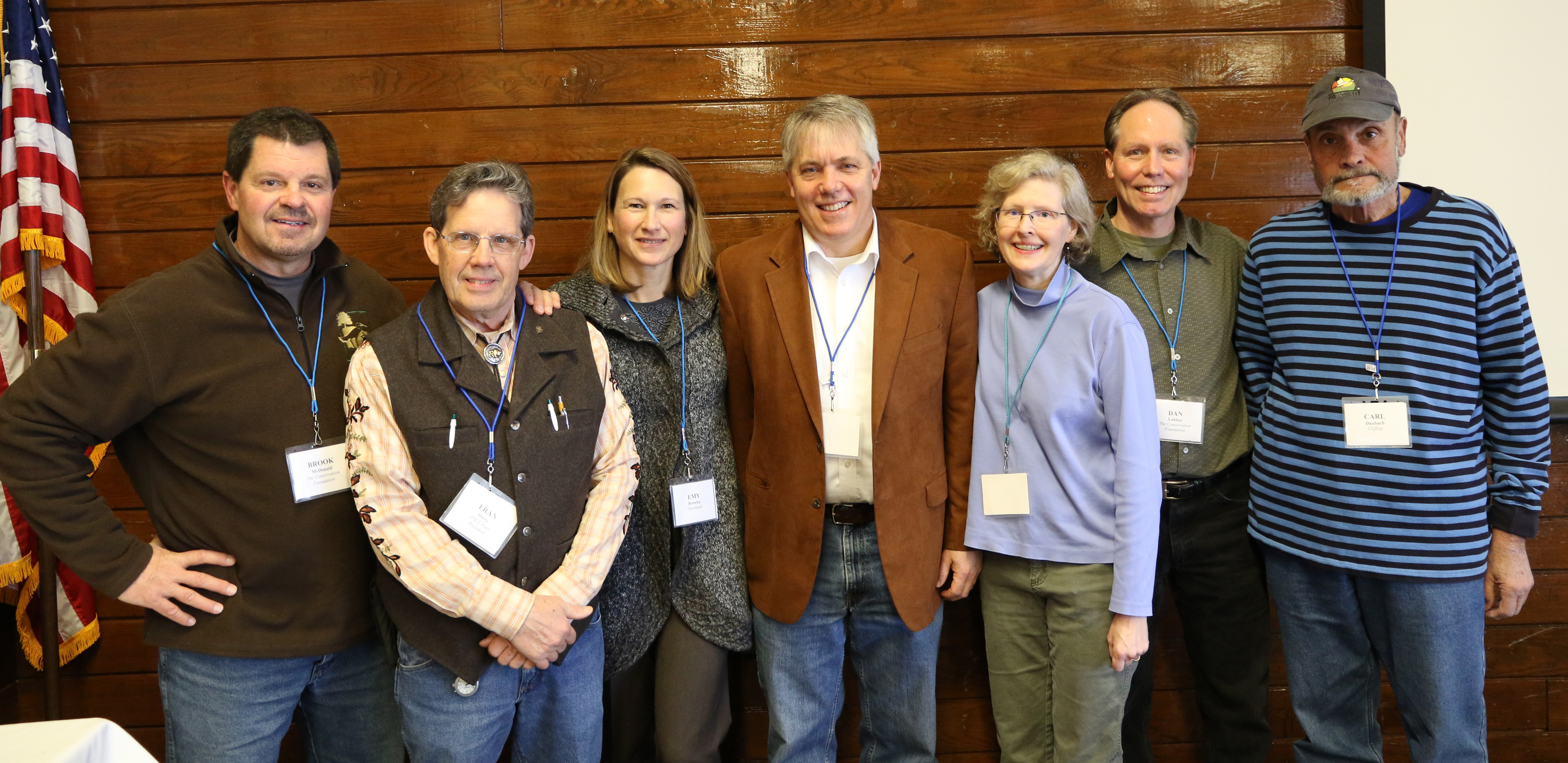 Brook McDonald, The Conservation Foundation; Fran Harty; Emy Brawley, Openlands; Steve Barg, Jo Daviess Conservation Foundation; Lisa Haderlein, Land Conservancy of McHenry County; Dan Lobbes, The Conservation Founation; and Carl Daubach, Clifftop